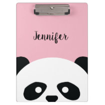 Personalized Adorable Panda Bear Pattern Kids Clipboard