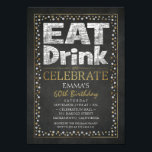 """Personalized Adult 60th Birthday Party Invitations<br><div class=""""desc"""">Personalized Adult 60th Birthday Party Invitations. Cool black,  white and faux gold fancy birthday invites. Feature creative elegant topography on a chalkboard background. You can change birthday age and details. Also,  you can use this templates for other events as well. Designed by Superdazzle.com</div>"""