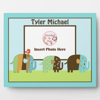 Personalized Africa Striped Elephants Photo Plaque