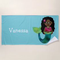 Personalized African American Faux Foil Mermaid Beach Towel