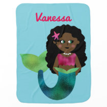 Personalized African American Faux Foil Mermaid Swaddle Blanket