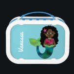 """Personalized African American Mermaid Faux Foil Lunch Box<br><div class=""""desc"""">Girls Personalized African American, Black, Ethnic Mermaid Faux Foil Kids Lunch Box. Pretty, blue background like the ocean. Adorable little mermaid with faux foil green tail, magenta pink tank top and pink starfish in her dark black hair. Personalize on the front of lunch box vertically with name in pretty script....</div>"""