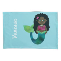 Personalized African American Mermaid Faux Foil Pillow Case