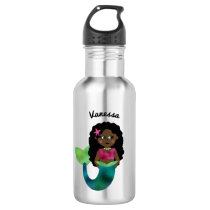 Personalized African American Mermaid Faux Foil Stainless Steel Water Bottle