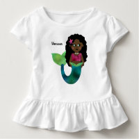 Personalized African American Mermaid Faux Foil Toddler T-shirt