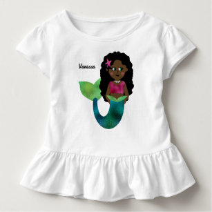 African american baby clothes apparel zazzle personalized african american mermaid faux foil toddler t shirt negle Choice Image