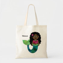 Personalized African American Mermaid Faux Foil Tote Bag