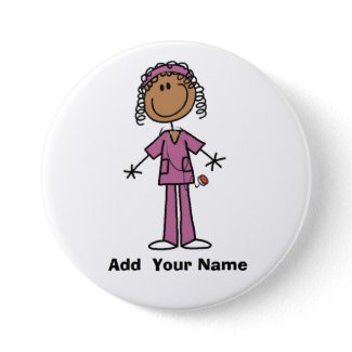 Personalized African American  Nurse  Button button
