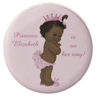 Personalized African American Princess Baby Shower Chocolate Dipped Oreo