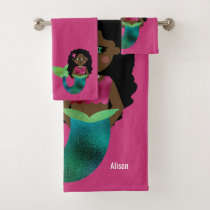 Personalized African Faux Foil Black Mermaid Cute Bath Towel Set
