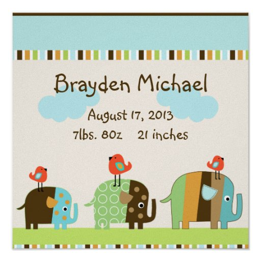 Personalized African Striped Elephants Wall Art