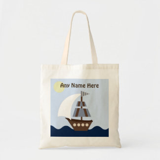 Personalized Ahoy Mate Nautical Sailboat Tote Bag