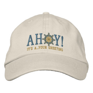 Personalized AHOY! Nautical Greetings Embroidery Embroidered Hats