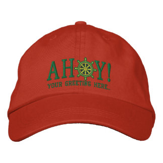 Personalized AHOY! Nautical Greetings Embroidery Embroidered Baseball Caps