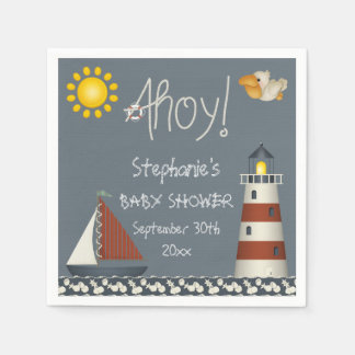 Personalized Ahoy Sail Boat Lighthouse Baby Shower Napkin