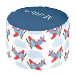 Personalized Airplane Pattern Kids Red Blue Pouf