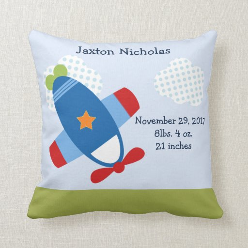 Personalized Airplane Taking Flight Keepsake Throw Pillow