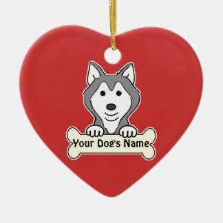 Personalized Alaskan Malamute Double-Sided Heart Ceramic Christmas Ornament