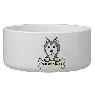 Personalized Alaskan Malamute Dog Water Bowls