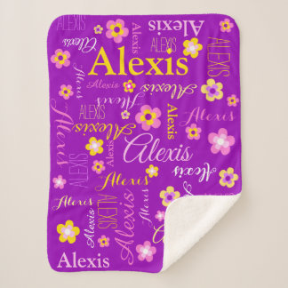 Personalized Alexis flowers and name text Sherpa Blanket