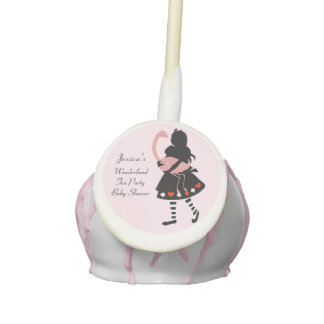 Personalized Alice and Pink Flamingo Baby Shower Cake Pops