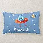 Personalized Alien Spaceship Throw Pillow
