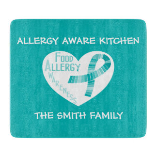 Personalized Allergy Aware Teal Ribbon Heart Teal Cutting Board
