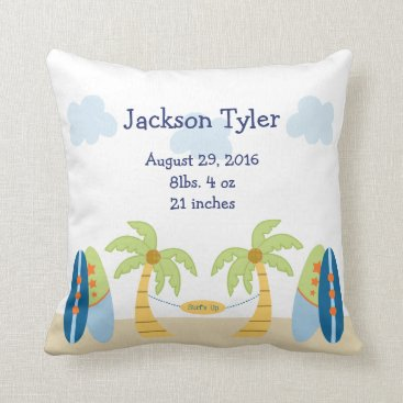 Beach Themed Personalized Aloha Beach Baby Keepsake Pillow