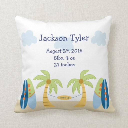Personalized Aloha Beach Baby Keepsake Pillow
