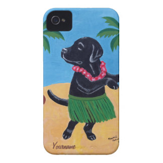 Personalized Aloha Black lab Painting iPhone 4 Cover