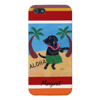 Personalized Aloha Black Labrador Painting Stripe Cover For iPhone SE/5/5s