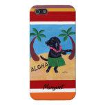 Personalized Aloha Black Labrador Painting Stripe iPhone 5 Case