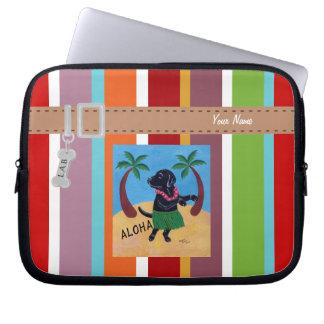 Personalized Aloha Black Labrador Stripe Computer Sleeve