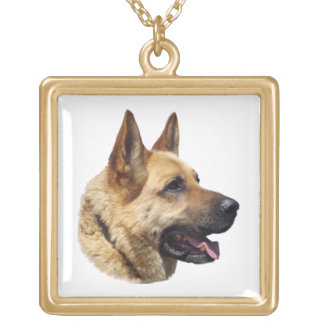Personalized Alsatian German Shepherd dog Gold Plated Necklace