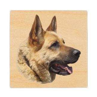 Personalized Alsatian German Shepherd dog Wood Coaster