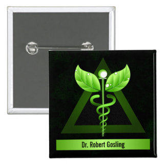 Personalized Alternative Medicine Green Caduceus Button