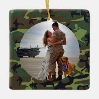 Personalized Always My Hero Army Camouflage Photo Ceramic Ornament