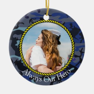 Personalized Always My Hero Navy Camouflage Photo Ceramic Ornament