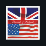 "Personalized American and British flags Party Napkin<br><div class=""desc"">Isn't this the perfect addition to your party to celebrate a union of a British and an American? Get your guests into the spirit of things with this joint flag party decor. This is part of a collection, why not have a look at the other items available to make your...</div>"