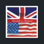 """Personalized American and British flags Party Napkin<br><div class=""""desc"""">Isn't this the perfect addition to your party to celebrate a union of a British and an American? Get your guests into the spirit of things with this joint flag party decor. This is part of a collection, why not have a look at the other items available to make your...</div>"""