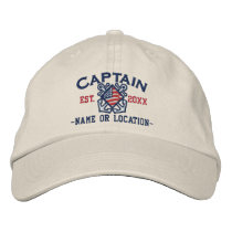 Personalized American Captain Nautical Embroidery Embroidered Baseball Hat