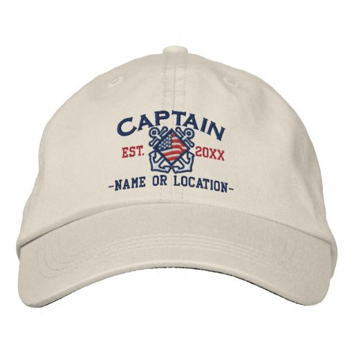 4bc016dc5e83a Personalized American Captain Nautical Embroidery Embroidered Baseball Hat