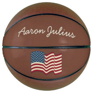 Personalized American Flag Basketball