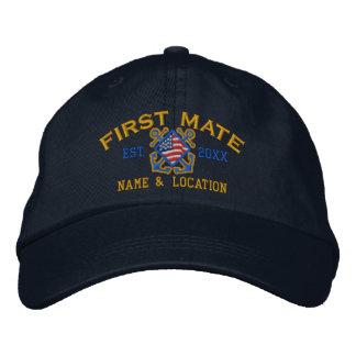 Personalized American Flag First Mate Nautical Baseball Cap