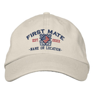 Personalized American Flag First Mate Nautical Embroidered Baseball Hat