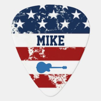 Personalized American Flag Rock Guitar Music Guitar Pick by mixedworld at Zazzle