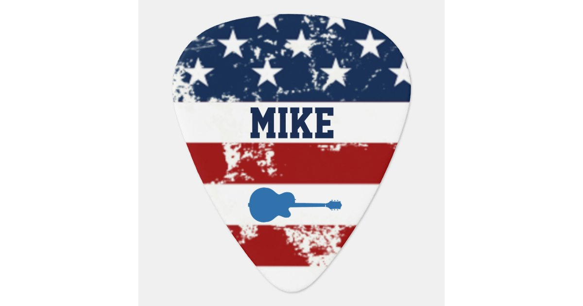 Personalized Street Signs >> personalized american flag rock guitar music guitar pick ...