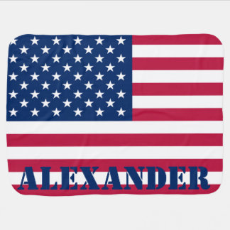 Personalized American Flag Swaddle Blanket