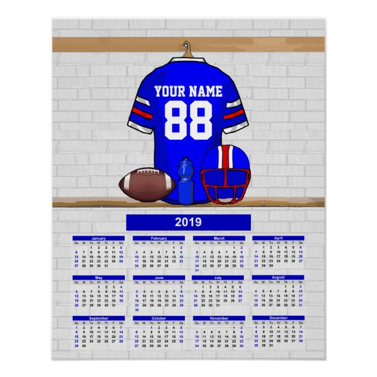 Personalized American Football BRW 2019 Calendar Poster