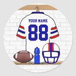 Personalized American Football Grid Iron WRB Round Sticker
